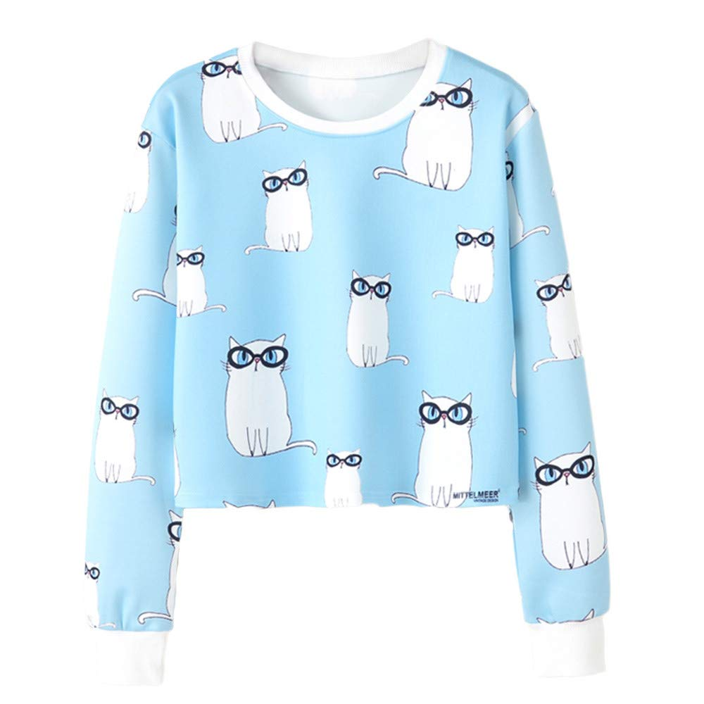 Rambling Cute Pullover Blouse, Women's Casual Floral Print Long Sleeve Round Neck Sweatshirt