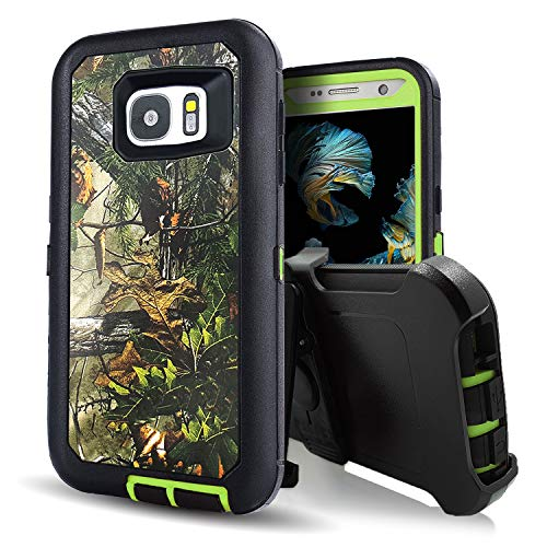 Vodico Galaxy S7 Case,Kecko Heavy Duty Protection Shock Reduction/Bumper Case Shockproof Dirtproof Defender Camo Cover Case w/Built-in Screen Protector for Samsung Galaxy S7 Cover Case (Forest Green)