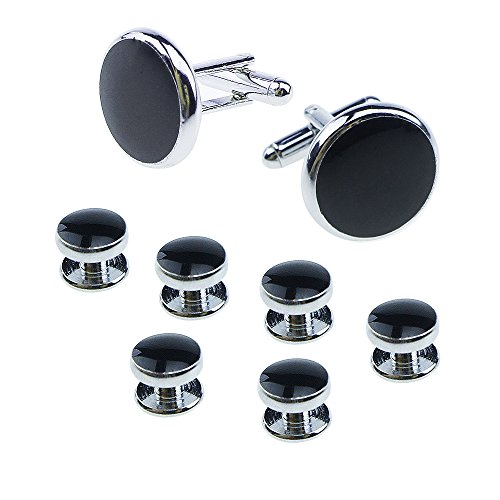 UJOY Cufflinks Buttons Business Wedding Dress Shirts Studs Set Round 4 Colors Jewelry Gift Box for Men XDS04 black by UJOY