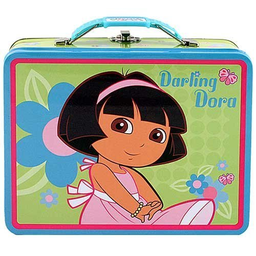 Dora the Explorer Square Tin Stationery or Small Lunch Box Lunchbox - Blue
