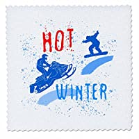 3dRose Alexis Design - Sport Winter - Snowmobile, snowboard, snow. Hot winter colorful text. Winter sport - Quilt Squares