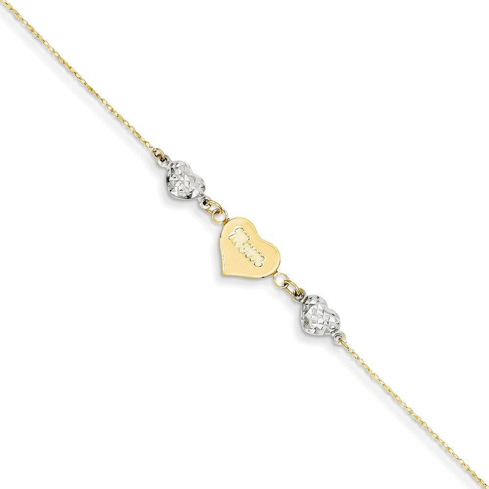 14k Two-Tone Gold Ropa Sparkle-Cut Beads Puff Heart Love With 1inch Ext Anklet - 9 Inch