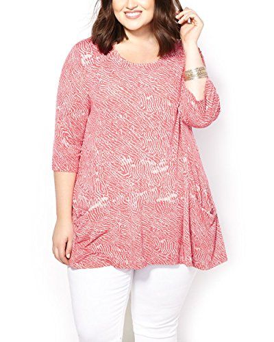 Penningtons Womens Plus Size 3/4 Sleeve Printed Top With Pockets Deep Sea Coral 1X