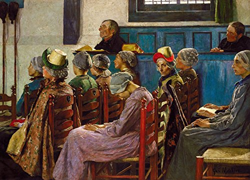 "The Sermon - By Gari Melchers - Canvas Prints 16"" by 12"" Unf"