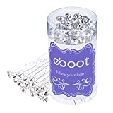 eBoot 40 Pack White Crystal Rhinestone Hair Pins Wedding Hair Clips with Storage Bag