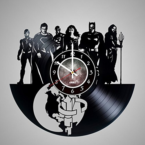 Vinyl Record Wall Clock for Comics Fans of Superhero Bands - Get unique living room wall decor - Gift ideas for friends, teens, children, men and women, boys and girls (Raven Dc New 52)