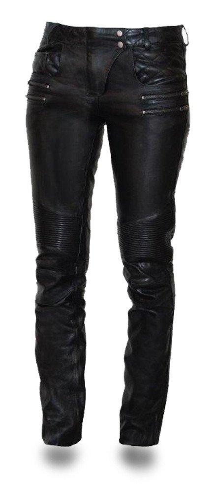 First Manufacturing Women's Vixen Leather Motorcycle Pants (Black, Size 10) FIL711CJ-Black-10-Vixen