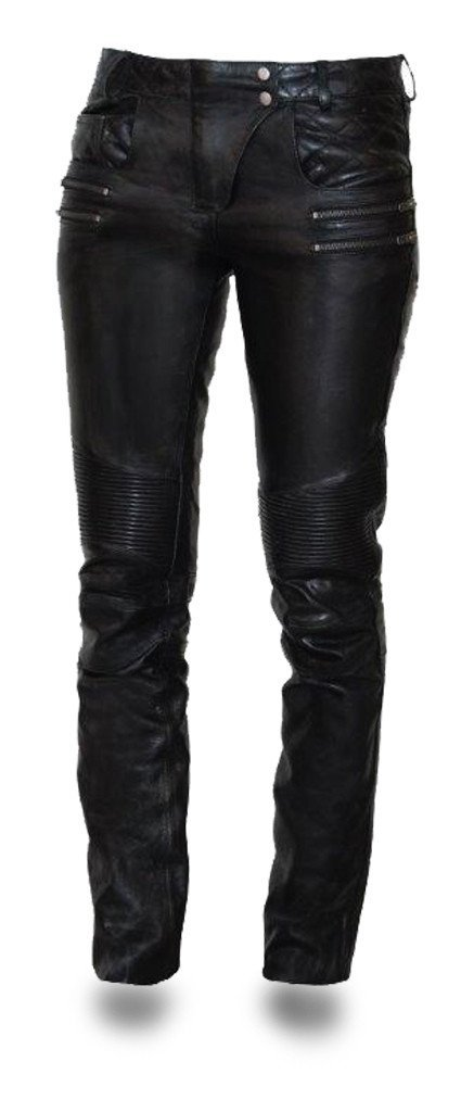 First Mfg Co Vixen Women's Leather Motorcycle Pants Black Size 8