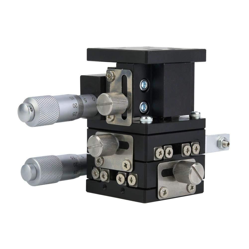 LD40-LM 3 Ejes 40x40mm Mesa Deslizante Lineal,XYZ Linear Stage Plataforma Deslizamiento Manual para Microscopio,Transportador,Máquina de Proceso,Equipo Médico,Máquina de Impresión