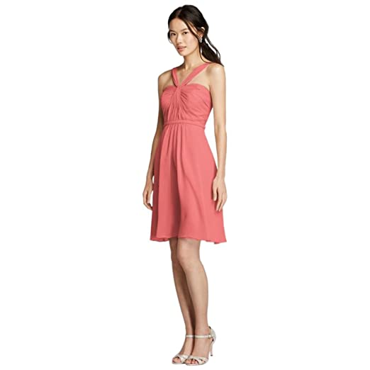 d857423e508b Y-Neck Ruched Bodice Crinkle Chiffon Short Bridesmaid Dress Style W10943,  Coral Reef,