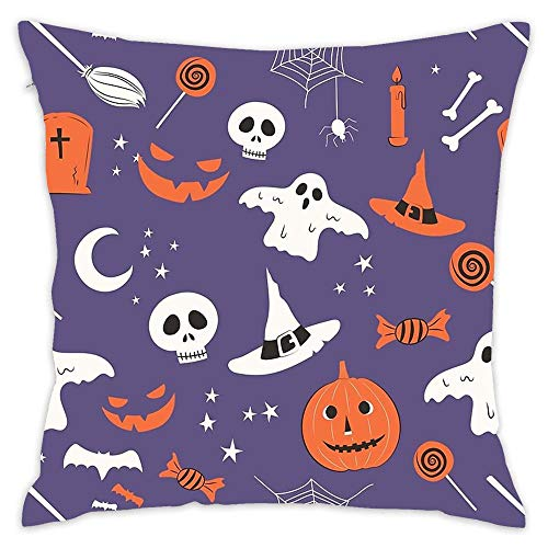 Wbsdfken Spooky Classic Halloween Icon Pattern Soft Cotton