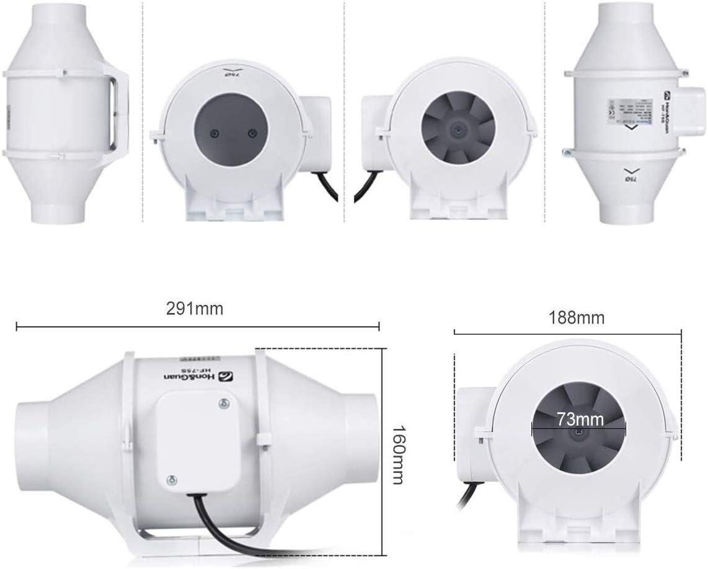Hon/&Guan 75mm Extractor Ventilador de Aire en L/ínea Super Ligero y Silencioso