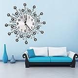 OHTOP Luxury Diamond Flower Art Large Metal Wall Clock Indoor Home Living Room Decor Diameter 13.58'' (Black)