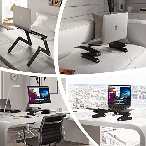 Portable Cozy Computer Desk 360 Degree Adjustable Laptop Table with Mouse Pad US Stock PEATAO Laptop Stand for Bed Black No Fans