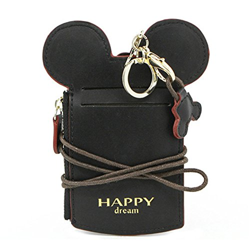 Holder Card Shape (COCO LEE Chic Black Cute Travel PU Leather Student ID Card Holder Lanyard Neck Pouch Bag With Coin Wallet Purse for School Students Women Kids Teens Girls)
