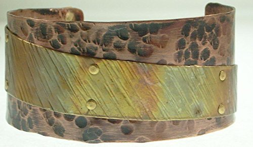 Hammered Copper Cuff Heat Patina Brass Overlay Hand (Patina Hand Forged)