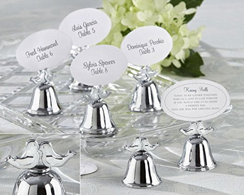 120 Lovebirds Silver Finish Kissing Bell Place Card Holders by Kateaspen