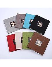 Capa de linho com janela aberta auto-adesiva álbum de lamina??o livro de fotos família colar álbum de filatelia artesanal