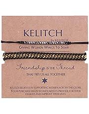 Kelitch Jewel 2 Pcs Boho Semilla Rebordeado Envolver Esposas Ajustable Diseño Bofetada Pulsera Brazalete Para Mujer