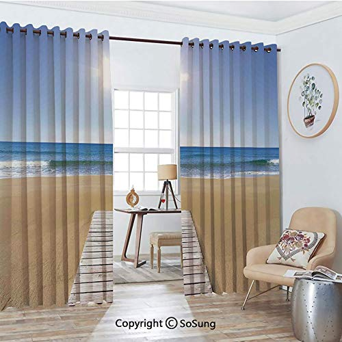 - Thermal Insulated Blackout Patio Door Drapery,Wooden Deck on Golden Sandy Beach with Sky Landscape and Sun Shine Wave Sea Print Room Divider Curtains,2 Panel Set,100