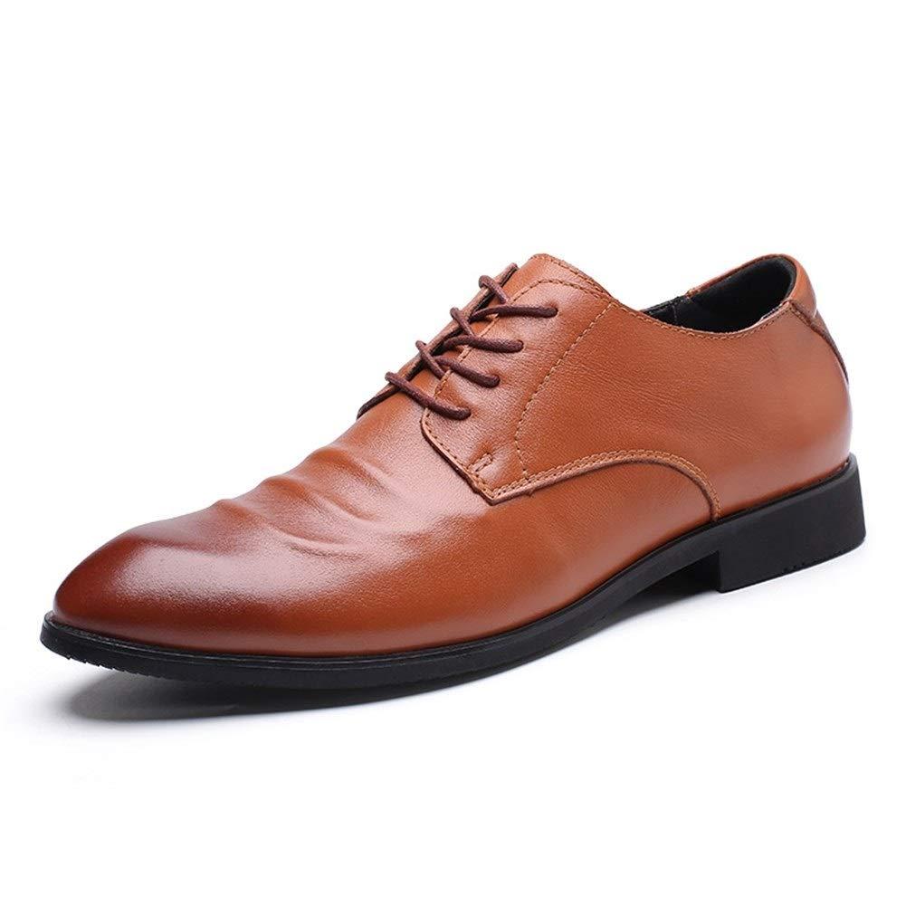 JUN Men's Leather Lined Dress Shoes Leather Lined Dress Slip-On Shoes Driving Shoes Casual Comfortable Shoes Men's Uniform Shoes Travel Shoe (Color : Brown, Size : 10 M US) by JUN