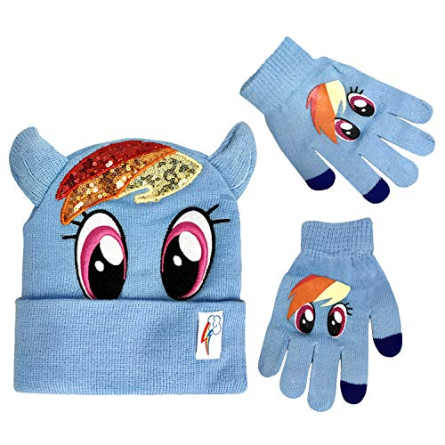 ef48e25452954 My Little Pony Winter Beanie Hat with Matching Glove Set Rainbow Dash  Character  4015