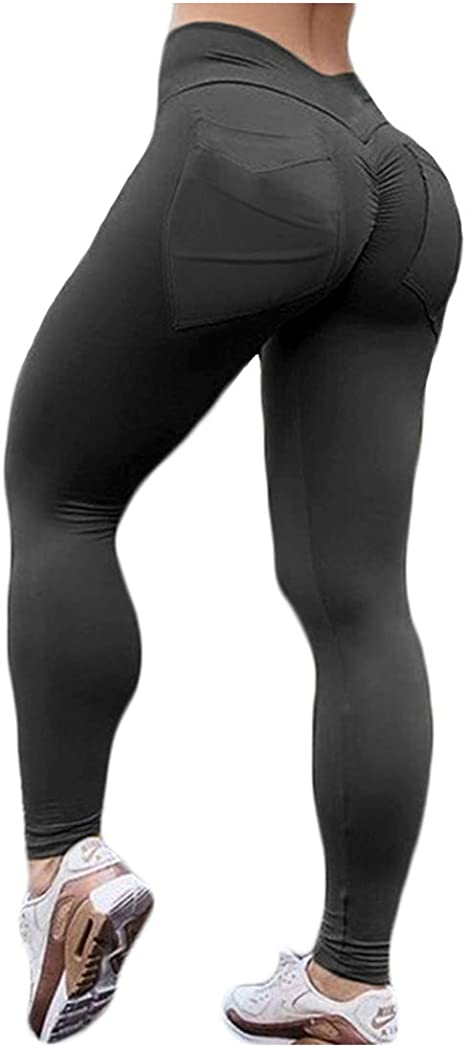 Hioinieiy Womens Scrunch Ruched Butt Lifting Booty Enhancing Leggings High Waist Push Up Yoga Pants with Pockets