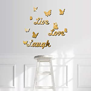 DIY Mirror Butterfly Stickers Love Live Laugh Butterfly Wall Letters Butterfly 3D Mirror Wall Stickers Home Decoration Decal, Gold