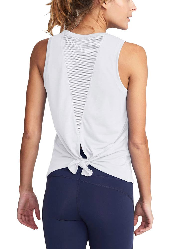Mippo Women's Sexy Open Back Yoga Tops Activewear Summer Tie Back Mesh Workout Clothes Flowy Sports Sleeveless Cute Tank Tops White S