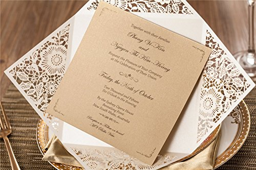 Wishmade 100X Square Laser Cut Wedding Invitations Kit With White Envelope and Envelope Seals Card Stock For Engagement Bridal Shower Birthday Baby Shower Party CW520_WH by Wishmade (Image #3)