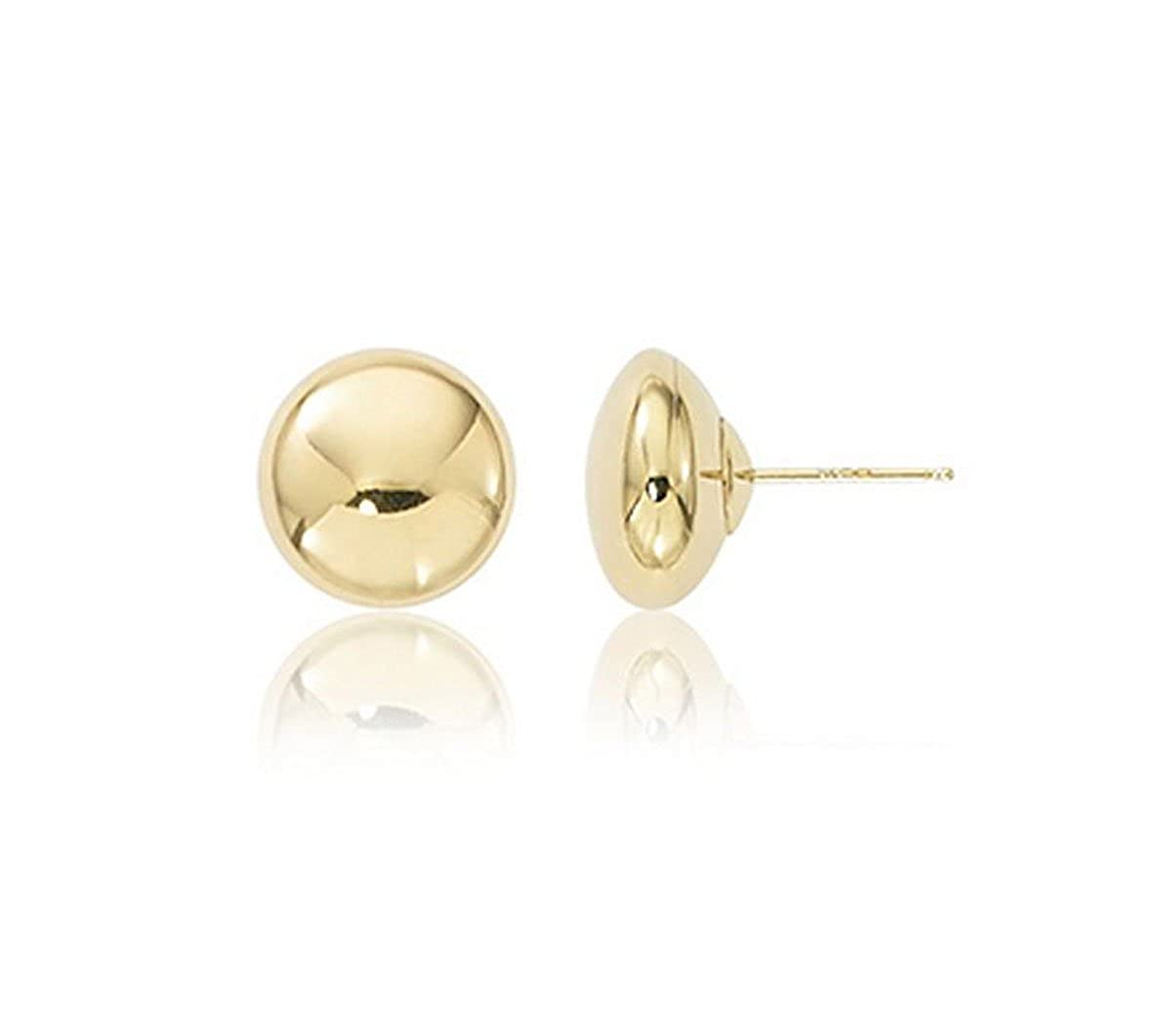 14K Yellow Gold Flat Button Ball Earring from 3mm to 10mm