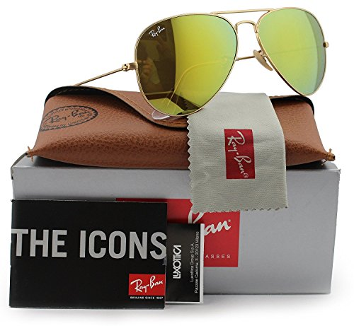 Ray-Ban RB3025 Aviator Sunglasses Matte Gold w/Brown Gold Mirror (112/93) 3025 58mm - Gold Ban 3025 Mirror Sunglass Aviator Ray Authentic Matte