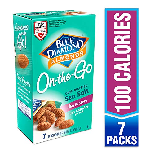 Blue Diamond Almonds, Oven Roasted with Sea Salt, 100 Calorie On-The-Go Bags (Pack Of 7)