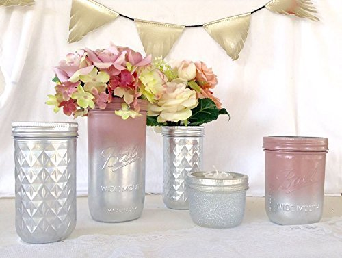 set of 5 rustic chic blush pink and silver ombre mason jar centerpieces bridal