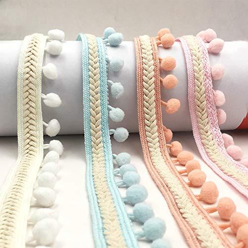 Yalulu 5 Yards Embroidered Trim Ribbon Pompom Trim Fringe Ribbon Pom Pom Crafts Lace DIY Sewing Accessories Decoration Supplies (Black)