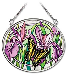 Amia 4-1/4 By 3-1/4-inch Oval Hand-painted Glass Suncatcher, Purple Iris And Butterfly, Small