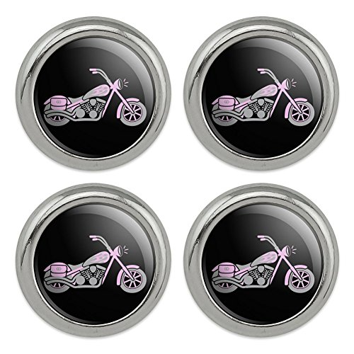 Pink Bike Motorcycle Chopper Metal Craft Sewing Novelty Buttons - Set of ()