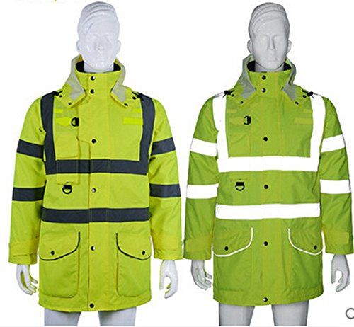 Holulo Waterproof 7-in-1 Reflective Class 3 Safety Parka Jacket with Zipper and Pockets Size XL by Holulo (Image #2)