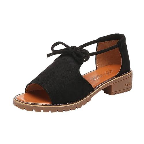 ... de Tacón Alto Playa Sandalias Chunky de Verano Zapatos Fiesta Señoras Alpargatas de Cuña con Cordones Calzado: Amazon.es: Zapatos y complementos