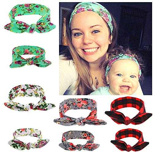 Gellwhu 8PCS Mom and Me Headband Baby Girls Headwrap Knot Hairband Hair Bow Set
