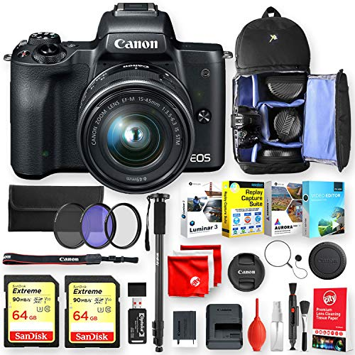 - Canon EOS M50 Mirrorless Camera (Black) with EF-M15-45mm Lens Deluxe Accessory Bundle with 2 64Gb Sandisk Extreme Memory, 4 Editing Software, Backpack, Monopod and Pro Essentials (21pc Total)