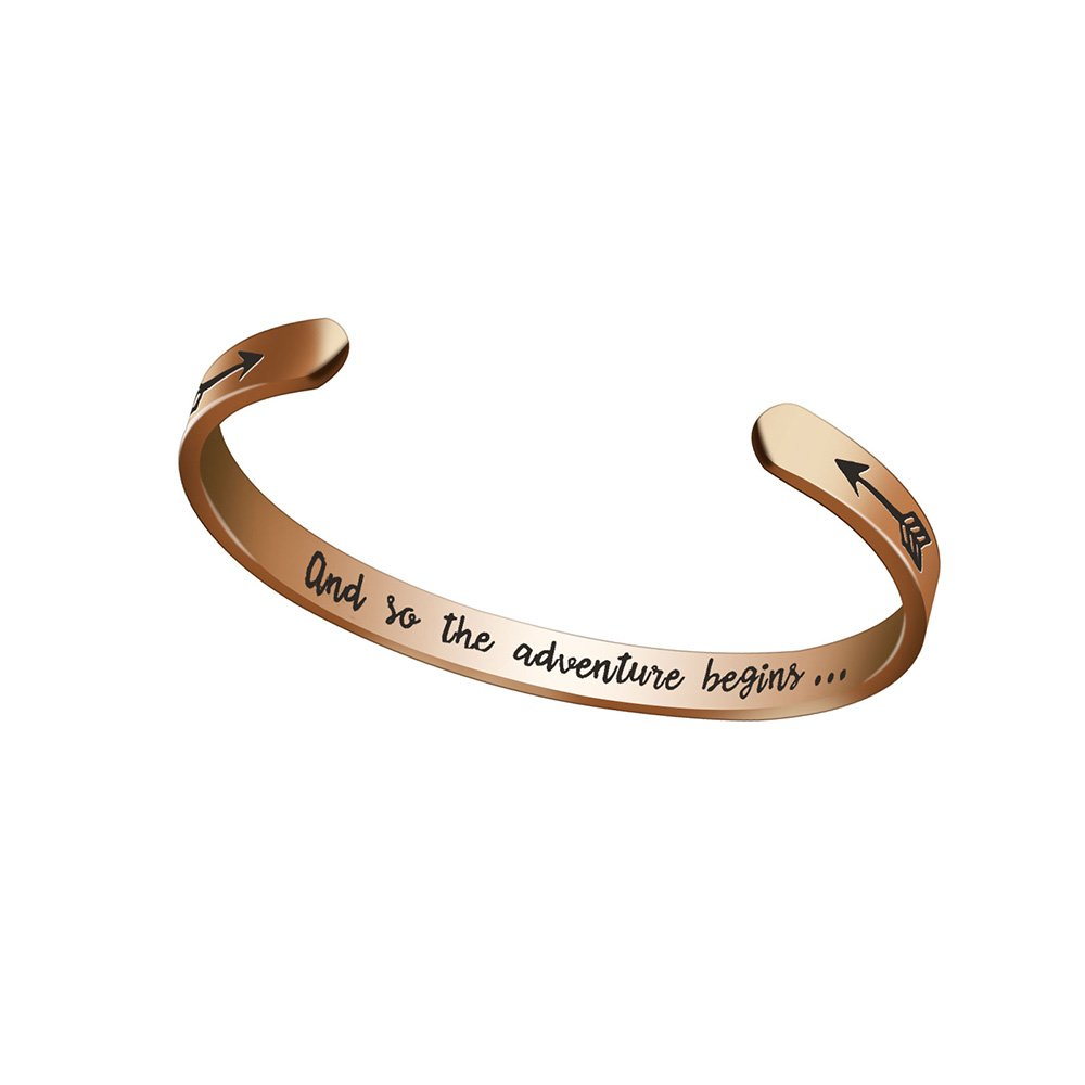 Dec.bells Jewelry Rose Gold Bangle Bracelet Inspirational Cuff Bracelet for Women Men Class of 2018 Graduation Gifts for Her Him And So The Adventure Begins (Rose Gold)