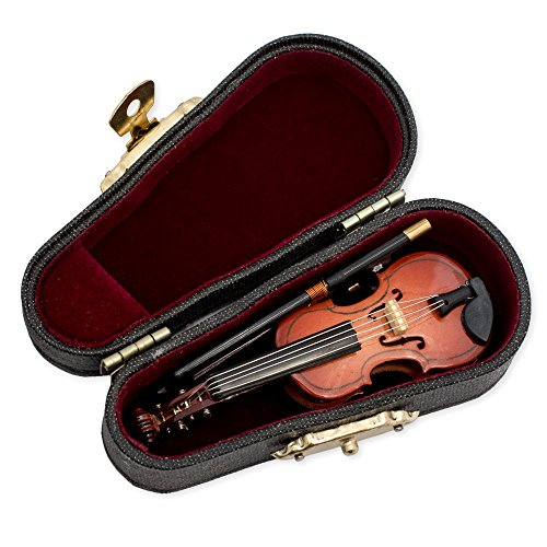 Violin Music Instrument Miniature Replica with Case, Size 3 in.