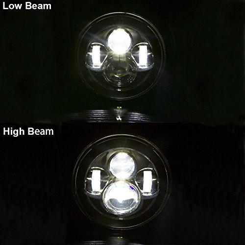 7 inch LED Headlights Daymaker DOT with Cree Chip Fog Lights Bulbs Set Kit Projector for Jeep Wrangler JK LJ JKU TJ CJ Sahara Rubicon Freedom Dragon Edition Unlimited Hard Rock Sport Headlamps Black by TRUCKMALL (Image #6)