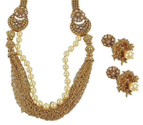 Bollywood indien Style Mode Doré Perle Pierre Polki Collier Ensemble de bijoux pour femme