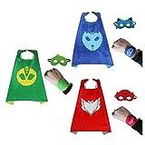 Bek Brands PJ Masks 3 Pack with Felt Bracelet Superhero Cape and Mask Set | Dress up Cape and Mask, Costume