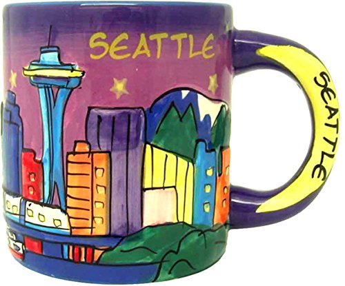 Seattle at Night Hand Painted Designer Mug of the Beautiful Seattle Skyline Featuring the Space Needle