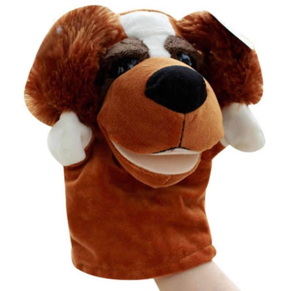 SODIAL(R) Cute Plush Velour Animals Hand Puppets Chic Designs Kid Child Learning Aid Toy (Dog) 050533A4