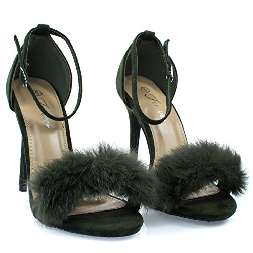 Forever Link Fluffy Feather Furry Strap High Heel Open Toe Dress Sandal Olive 8JEmrL7LH