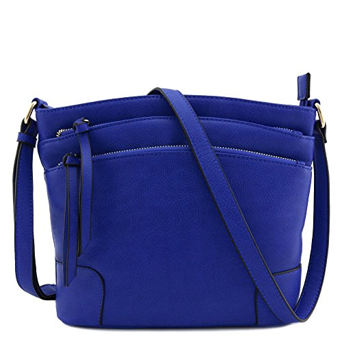 Bag Triple Pocket Zipper Royal Crossbody Blue Medium 1UzwqIrnU